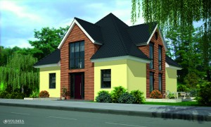 Haus Mit Holz Pistazie
